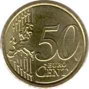 50 Euro Cent - Albert II (2nd map, 2nd type, 1st portrait) – reverse