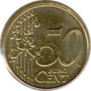 50 Euro Cent - Albert II (1st map, 1st type, 1st portrait) -  reverse
