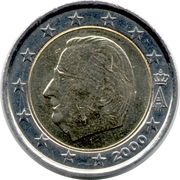 2 Euro - Albert II (1st map, 1st type, 1st portrait) – obverse