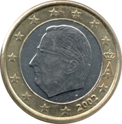 1 Euro - Albert II (1st map, 1st type, 1st portrait) – obverse