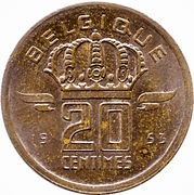 20 Centimes - Baudouin I (French text) – reverse