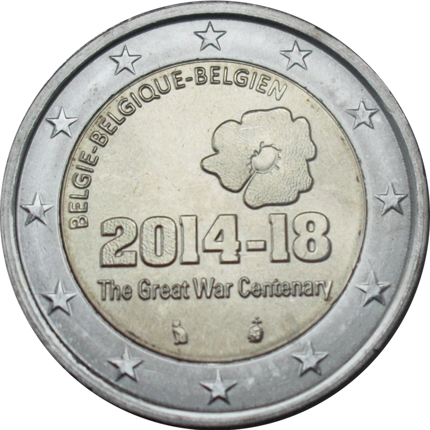 2 euro philippe 100th anniversary of the beginning of the ww i belgium numista