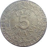 5 Franken (Ghent - WW1 German Occupation Coinage) – reverse