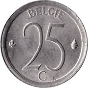 25 Centimes - Baudouin I (Dutch text) – reverse