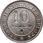 10 Centimes - Léopold II (Dutch text) -  reverse
