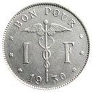 1 Franc - Albert I (French text) – reverse
