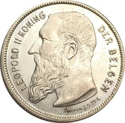 2 Francs - Léopold II (Dutch text) – obverse