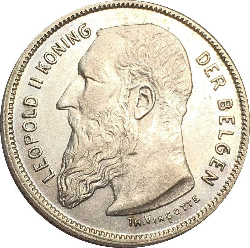 2 francs l opold ii dutch text belgium numista
