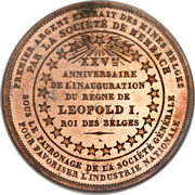 5 Centimes - Léopold I (25th Anniversary of the Inauguration) – reverse