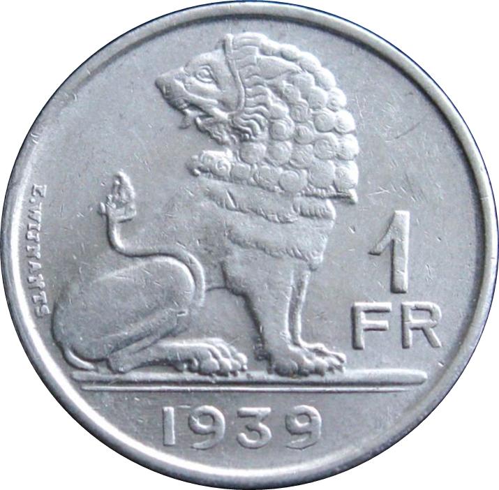 1 Franc Léopold Iii Belgique Belgie