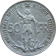 50 Francs - Léopold III (French text; Brussels Exposition and Railway Centennial) – reverse