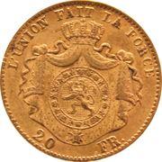 20 Francs - Léopold II (heavy coarser beard) -  reverse