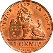 1 Centime - Léopold II (French text) -  reverse