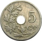5 Centimes - Léopold II (Dutch text; large date) – reverse