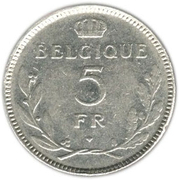 5 Francs - Léopold III (french text) – reverse