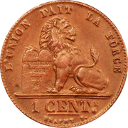 1 Centime - Albert I (French text) – reverse