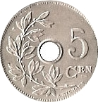 5 Centimes - Léopold II (Dutch text; small date) – reverse