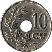 10 Centimes - Albert  I (dutch text; with star) – reverse