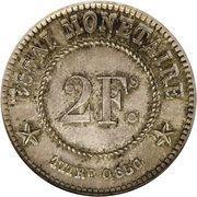 2 Francs - Leopold I (Trial strike) – reverse