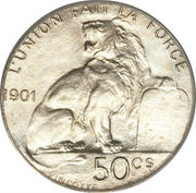 50 Centimes - Léopold II (french text) – reverse