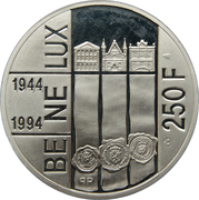 250 Francs - Albert II (BeNeLux Treaty) – reverse