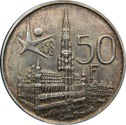 50 Francs - Baudouin I (French text; Brussels World's Fair 1958) – reverse