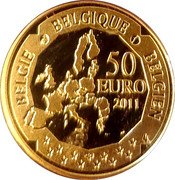 50 Euro - Albert II (Discovery of the South Pole) – reverse