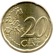 20 Euro Cent - Albert II (1st map, 1st type, 1st portrait) – reverse