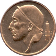 50 Centimes - Baudouin I (Dutch text; smaller head) -  obverse