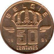 50 Centimes - Baudouin I (Dutch text) -  reverse