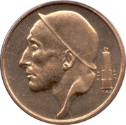 50 Centimes - Baudouin I (French text; smaller head) -  obverse