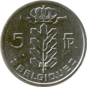 5 Francs - Baudouin I (French text) – reverse