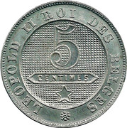 5 Centimes - Léopold II (French text) – reverse
