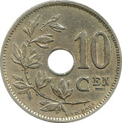 10 Centimes - Albert I (Dutch text) – reverse