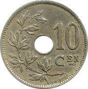 10 Centimes - Albert I (Dutch text) -  reverse