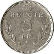 5 Francs - Léopold III (Dutch text) -  reverse