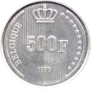 500 Francs - Baudouin (French text; 60th Birthday of King Baudouin) – reverse