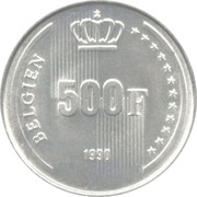 500 Francs - Baudouin (German text; 60th Birthday of King Baudouin) -  reverse
