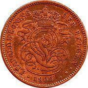 2 Centimes - Léopold II (Dutch text) – obverse