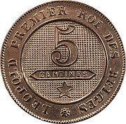 5 Centimes - Léopold I – reverse