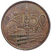 50 Francs - Baudouin I (Dutch text; Brussels World's Fair 1958) – reverse