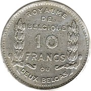 2 Belga / 10 Francs - Albert I (French text; Centennial of Belgium's Independence) – reverse