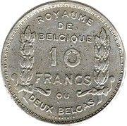 2 Belga / 10 Francs - Albert I (French text; Centennial of Belgium's Independence) – reverse