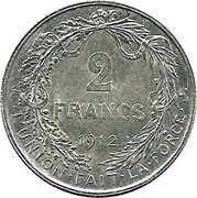 2 Francs - Albert I (French text) – reverse