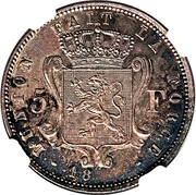 5 Francs - Leopold I (Pattern strike) – reverse