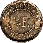 ½ Franc - Léopold I (Pattern) – reverse