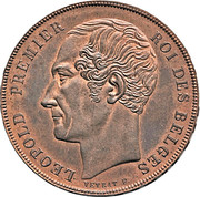 5 Franc - Léopold I (Pattern strike) – obverse