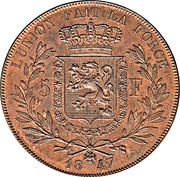 5 Franc - Léopold I (Pattern strike) – reverse