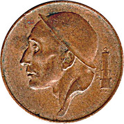 50 Centimes - Baudouin I (French text; larger head) -  obverse