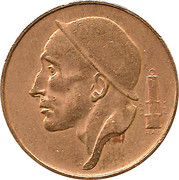 50 Centimes - Baudouin I (Dutch text; larger head) -  obverse